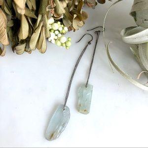 Vintage antique aquamarine quartz drop earrings